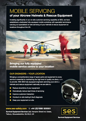 mobile servicing of aircraft helmets and rescue equipment