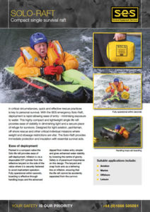 datasheet solo life raft for water survival