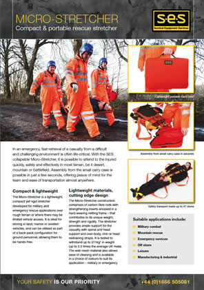 Data Sheet - Micro stretcher for search and rescue