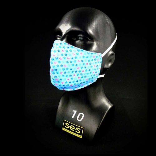 face mask washable reusable PPE stars light blue fabric