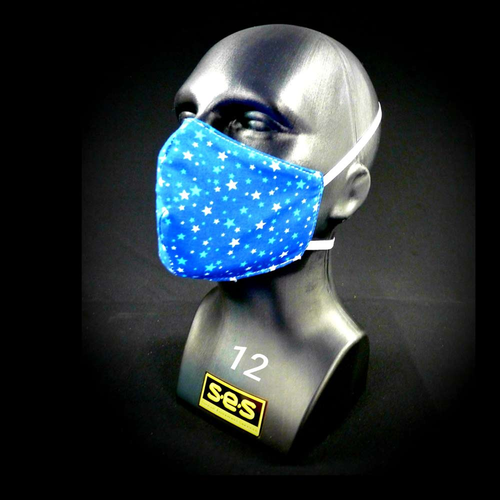 face mask reusable PPE 12 stars on dark blue Fabric