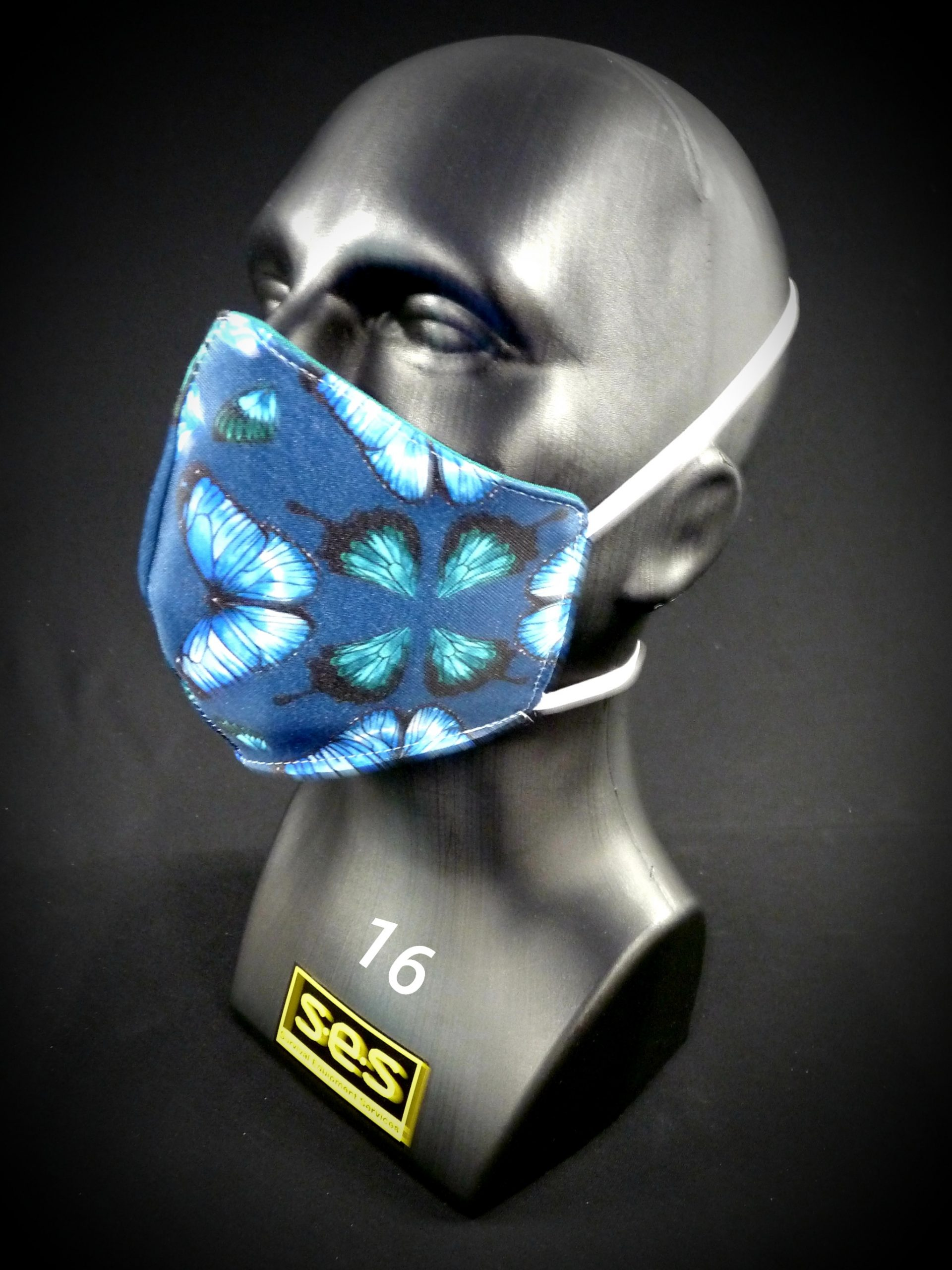 face mask washable reusable ppe 16 blue green butterfly fabric