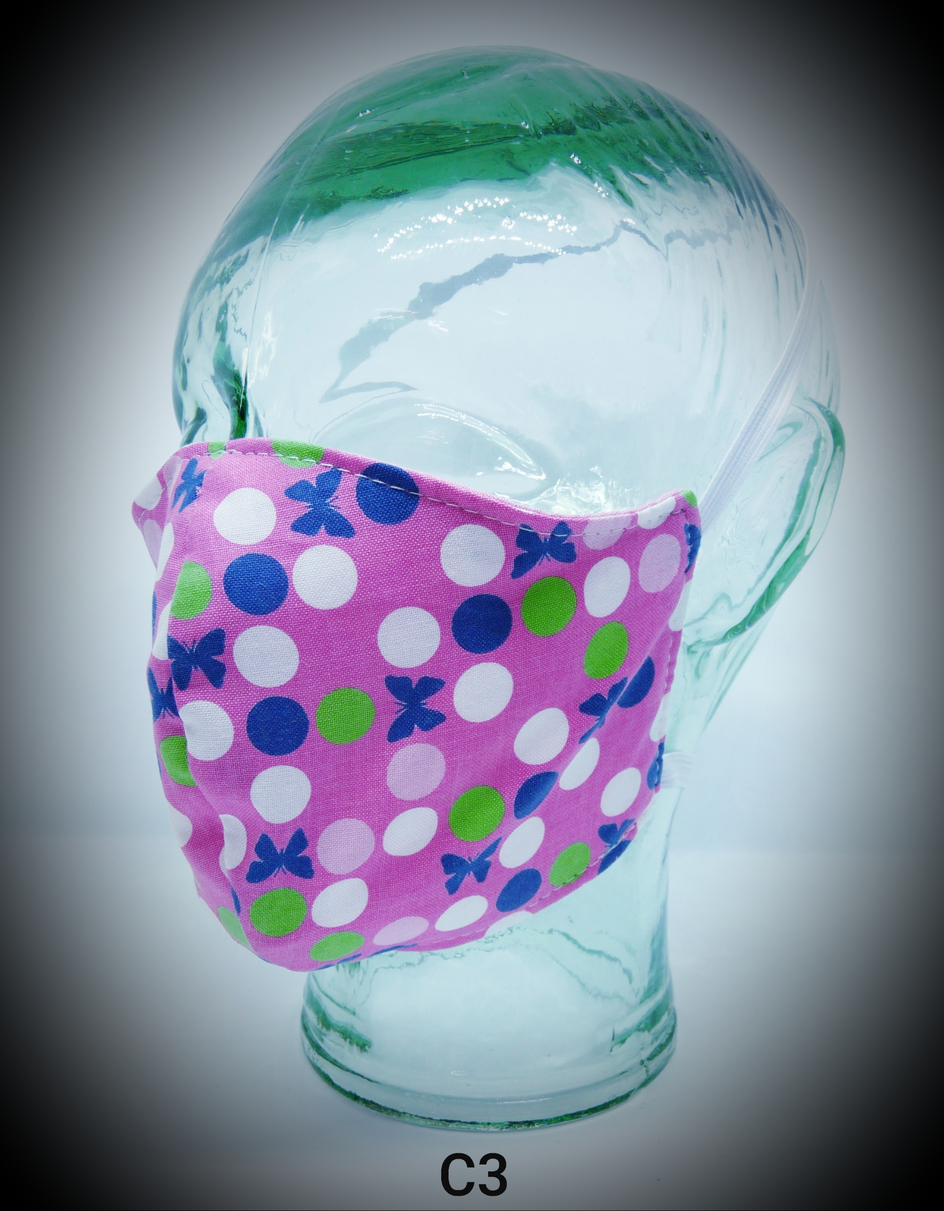 face mask washable reusable ppe c3 pink white blue spots fabric
