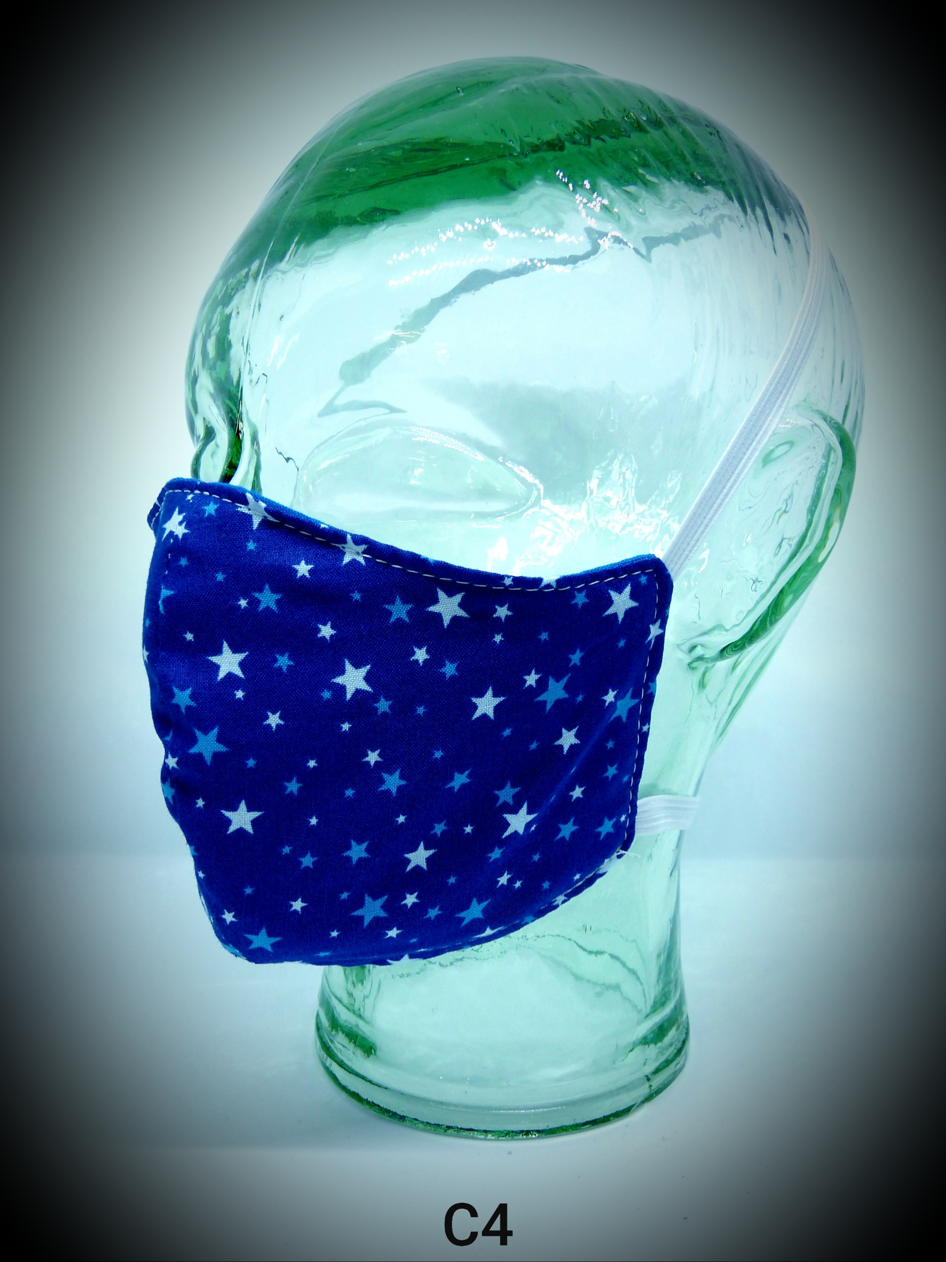 face mask washable reusable ppe c4 stars on dark blue fabric